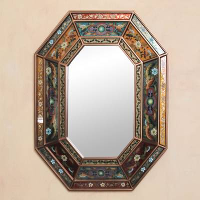Reverse painted glass mirror, 'Floral Fiesta' - Handmade Reverse Painted Glass Wall Mirror from Peru