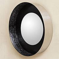 Steel and leather mirror, 'Andean Moon' - Handcrafted Contemporary Wall Mirror with Tooled Leather