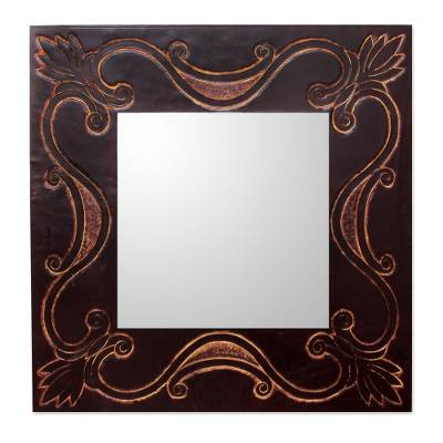 Handcrafted Contemporary Wall Mirror with Tooled Leather