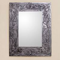 Leather mirror, 'Silver Garden' - Hand Tooled Leather Wall Mirror in Silvery Tones