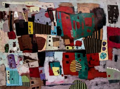 'Ancestral Plane' (2014) - Abstract Painting Inspired by Ancestral Textiles