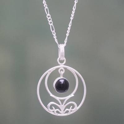 Obsidian and sterling silver pendant necklace, 'Halo of Grace' - Handcrafted Obsidian and Sterling Silver Pendant Necklace
