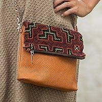 Leather and cotton shoulder bag Shipibo Legacy Peru