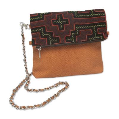 Leather and cotton shoulder bag, 'Shipibo Legacy' - Fair Trade Leather Shoulder Bag with Hand Embroidered Flap