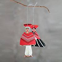 Ceramic ornaments, 'Andean Couple' - Peruvian Theme Artisan Crafted Ceramic Ornaments (Pair)