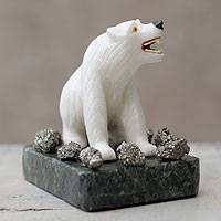 Onyx sculpture, 'Polar Bear' - Artisan Crafted White Onyx Gemstone Animal Sculpture