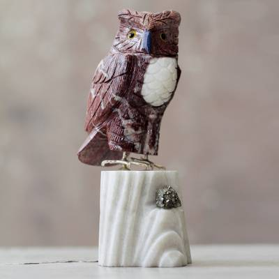 Garnet and onyx sculpture, Red Owl