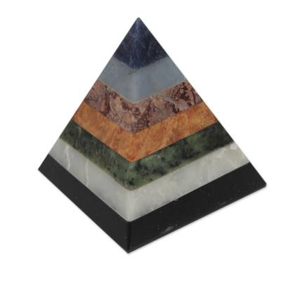 Gemstone pyramid, 'Positive Spirituality' - Artisan Crafted Seven Gem Pyramid Sculpture from the Andes