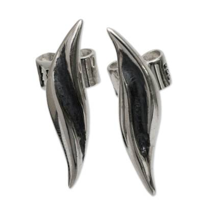 Handcrafted Sterling Silver Button Earrings from Peru