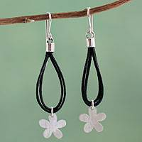 Silver and cotton flower earrings, 'Tropical Black' - Silver Flowers on Black Cotton Earrings Crafted by Hand