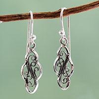 Silver dangle earrings, 'Classic Peru' - Artisan Crafted Silver 950 Peruvian Dangle Earrings