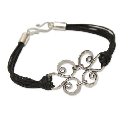Silver Pendant on Black Cotton Artisan Crafted Bracelet