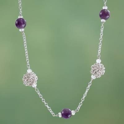 Amethyst and aquamarine chain necklace, 'Harmony' - Artisan Crafted Silver Necklace with Amethyst and Aquamarine