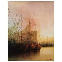 'Magical Afternoon' - Sunset and Sailboats Cubist Painting from Peru