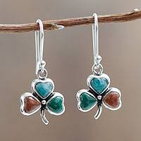 Multi gemstone dangle earrings, 'Andean Clovers' - Three Leaf Gemstone Clovers in Sterling Silver Earrings