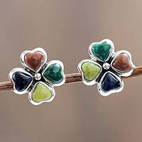Multi gemstone button earrings, 'Lucky Clovers' - Fair Trade Multi Gemstone and Sterling Silver Earrings