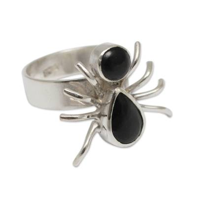 Artisan Crafted Sterling Silver and Obsidian Spider Ring