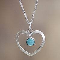 Amazonite heart necklace, 'Heavenly Love'