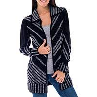 Alpaca blend cardigan, 'Chevrons' - Black and Grey Artisan Crafted Alpaca Blend Cardigan