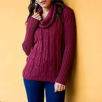 Alpaca blend turtleneck sweater, 'Burgundy Wine' - Peru Burgundy Alpaca Blend Cowl Neck Women's Sweater