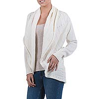 Alpaca blend cardigan, 'Sweet Vanilla' - Ivory Alpaca Blend Open Front Knitted Cardigan Sweater