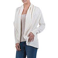 Alpaca blend cardigan, 'Sweet Vanilla' - Ivory Alpaca Blend Open Front Knitted Cardigan Sweater
