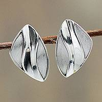 Sterling silver button earrings, 'Miraflores Swirl' - Modern Sterling Silver Button Earrings Hand Crafted in Peru