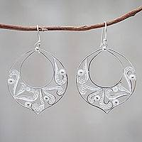 Sterling silver dangle earrings, 'Filigree Foliage' - Handcrafted Sterling Silver Filigree Dangle Earrings