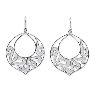 Handcrafted Sterling Silver Filigree Dangle Earrings