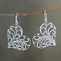 Sterling silver heart earrings, 'Lace Valentine' - Handmade Sterling Silver Filigree Heart Earrings from Peru