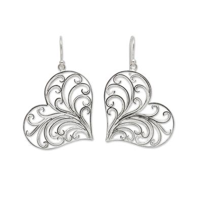 Handmade Sterling Silver Filigree Heart Earrings from Peru