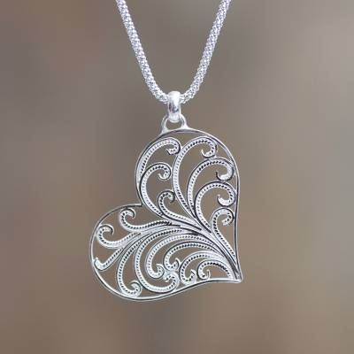Sterling silver heart necklace, 'Lace Valentine' - Handmade Sterling Silver Filigree Heart Necklace from Peru