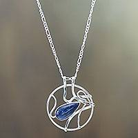 Sodalite pendant necklace, 'Rain Catcher' - Sodalite Raindrop on Sterling Silver Necklace from Peru