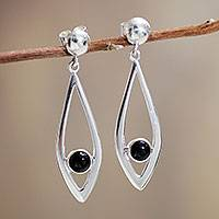 Obsidian dangle earrings, 'Nature's Harmony' - Artisan Crafted Sterling Silver Earrings with Obsidian Gems