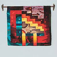 Wool tapestry, 'Andean Fields' - Multicolor Geometric Abstract Tapestry Hand Woven in Peru
