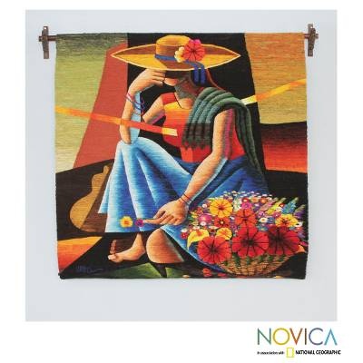 Wool tapestry, 'Woman of the Flowers' - Handwoven Cubist Style Andean Wool Tapestry from Peru