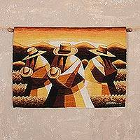Wool tapestry, 'Wheat Field' - Handwoven Andean Wool Tapestry in Earth Tones