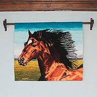 Wool tapestry, 'Chestnut Stallion' - Horse Theme Handwoven Andean Wool Tapestry from Peru