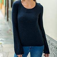 Alpaca blend sweater, 'Navy Blue Charisma'