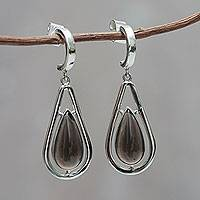 Obsidian dangle earrings, Shadow of a Tear