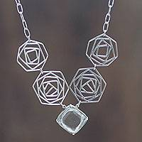 Quartz pendant necklace, 'Kaleidoscope' - Andean Silver and Quartz Artisan Crafted Necklace