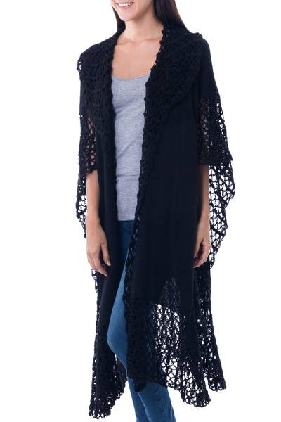 Lacy Knitted Black 100% Alpaca Long Cape from Peru