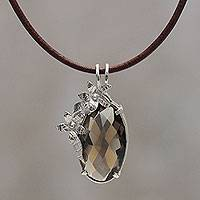 Smoky quartz pendant necklace, 'Sparkling Enigma' - Peru Handcrafted Smoky Quartz Necklace with Black Leather