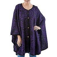 Reversible 100% alpaca ruana cloak, 'Purple Flora' - Women's Purple Patterned 100% Baby Alpaca Wool Ruana Cloak