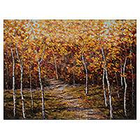 'Forest of Golden Leaves' - Autumnal Forest in Peru Signed Landscape Painting
