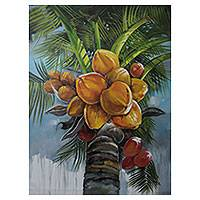 'Coconut Glow' - Palm Tree Oil on Canvas Realism Painting Signed by Artist