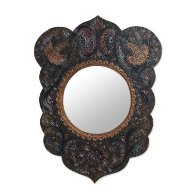 Artisan Crafted Bird Theme Leather Wall Mirror