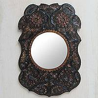 Leather mirror, 'Colonial Bouquet' - Finely Tooled Leather Wall Mirror from Peru