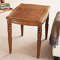 Mohena and leather accent table, 'Honey' - Artisan Crafted Hardwood and Leather Accent Table from Peru
