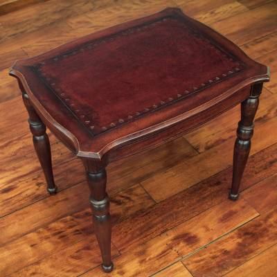 Mohena and leather accent table, 'Chestnut' - Andean Artisan Crafted Hardwood and Leather Accent Table